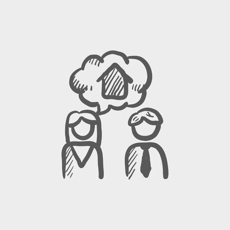 consider: Couple consider to buy a house sketch icon for web and mobile. Hand drawn vector dark grey icon on light grey background. Illustration