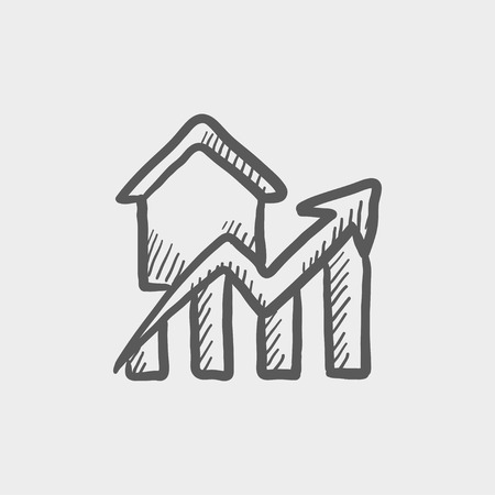 increases: Residential graph increases sketch icon for web and mobile. Hand drawn vector dark grey icon on light grey background.