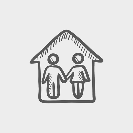duo: Couple house sketch icon for web and mobile. Hand drawn vector dark grey icon on light grey background.