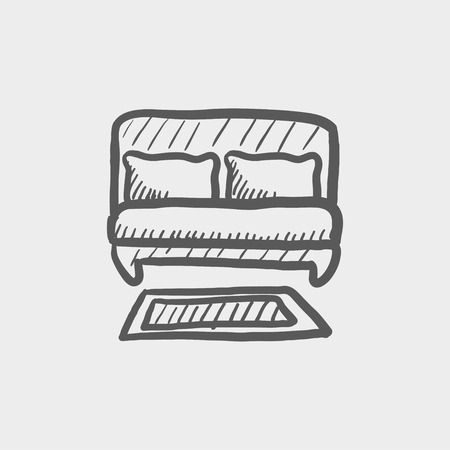 bed sheet: Double bed sketch icon for web and mobile. Hand drawn vector dark grey icon on light grey background.