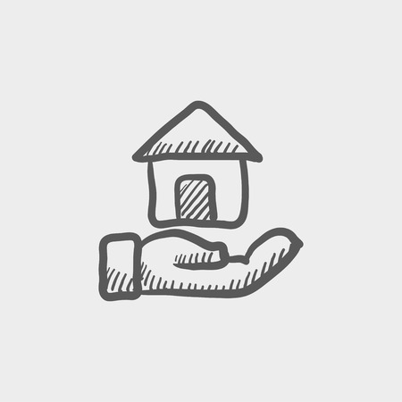 owned: Hand owned the house sketch icon for web and mobile. Hand drawn vector dark grey icon on light grey background.