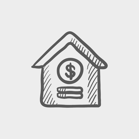 mobile banking: Dollar house sketch icon for web and mobile. Hand drawn vector dark grey icon on light grey background.