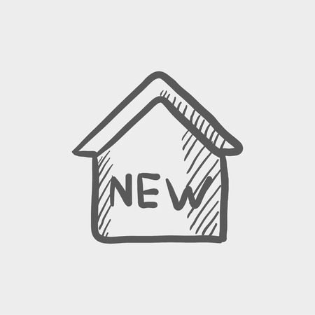 New house sketch icon for web and mobile. Hand drawn vector dark grey icon on light grey background.