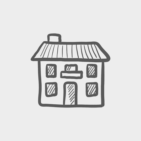 company premises: Real estate house sketch icon for web and mobile. Hand drawn vector dark grey icon on light grey background.