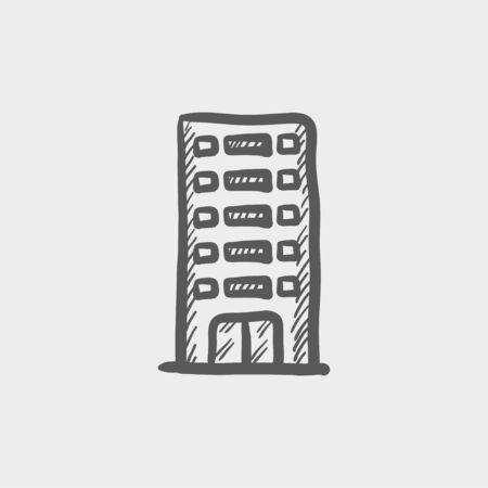 office building: Office building sketch icon for web and mobile. Hand drawn vector dark grey icon on light grey background.