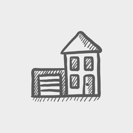 garage on house: House with garage sketch icon for web and mobile. Hand drawn vector dark grey icon on light grey background. Illustration