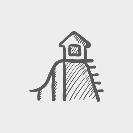 playhouse: Playhouse with slide sketch icon for web and mobile. Hand drawn vector dark grey icon on light grey background.