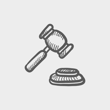 ruling: Gavel sketch icon for web and mobile. Hand drawn vector dark grey icon on light grey background.