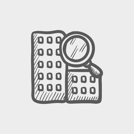 home icon: Search building sketch icon for web and mobile. Hand drawn vector dark grey icon on light grey background.