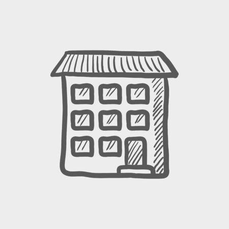 condominium: Condominium building sketch icon for web and mobile. Hand drawn vector dark grey icon on light grey background.