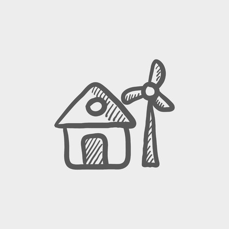 House with windmill sketch icon for web and mobile. Hand drawn vector dark grey icon on light grey background.