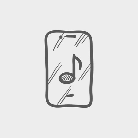 cellphone in hand: Phone with musical note sketch icon for web and mobile. Hand drawn vector dark grey icon on light grey background.