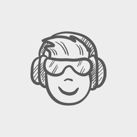Testata con cuffie e occhiali icona schizzo per web e mobile. Mano vettore tracciato grigio scuro icona su sfondo grigio chiaro.