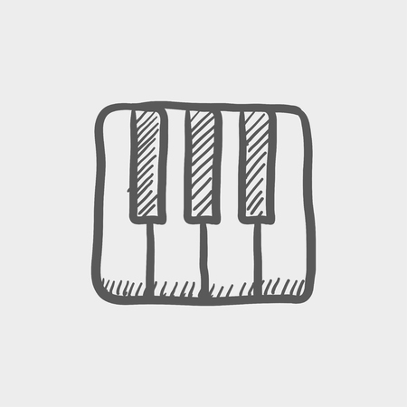 intertainment: Piano keys sketch icon for web and mobile. Hand drawn vector dark grey icon on light grey background.