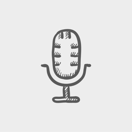 Retro microphone sketch icon for web and mobile. Hand drawn vector dark grey icon on light grey background. Illustration