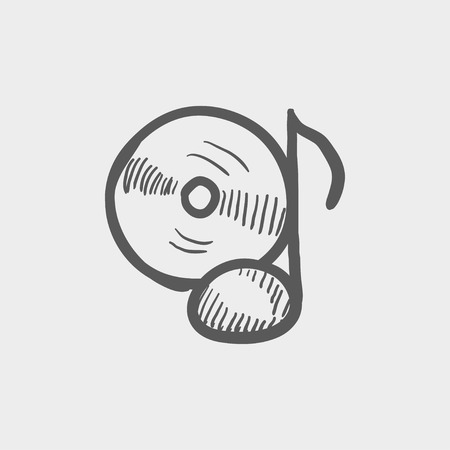 remix: Note with phonograph record sketch icon for web and mobile. Hand drawn vector dark grey icon on light grey background. Illustration