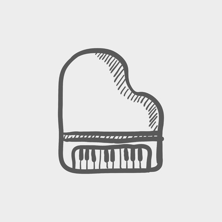 old piano: Piano sketch icon for web and mobile. Hand drawn vector dark grey icon on light grey background.