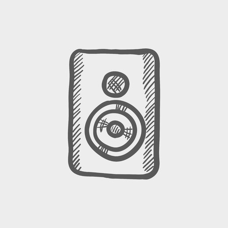 sub woofer: Two way audio speaker sketch icon for web and mobile. Hand drawn vector dark grey icon on light grey background.