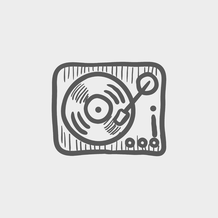 Phonograph turntable sketch icon for web and mobile. Hand drawn vector dark grey icon on light grey background. Illustration
