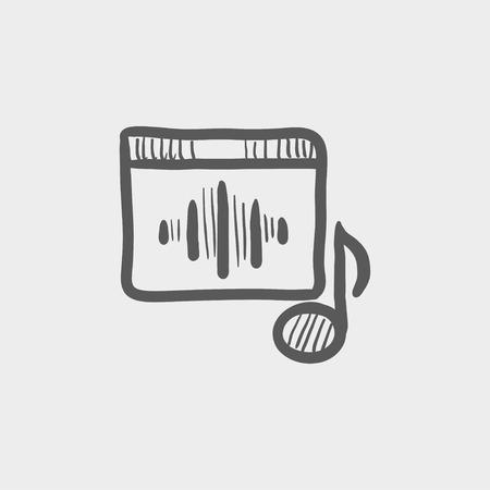 Radio retro sketch icon for web and mobile. Hand drawn vector dark grey icon on light grey background. Ilustrace