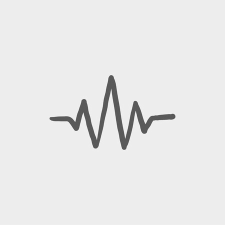 hand beats: Sound wave beats sketch icon for web and mobile. Hand drawn vector dark grey icon on light grey background.