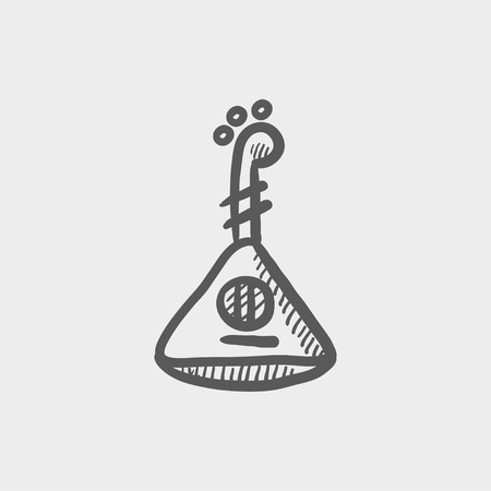 hawaiian culture: Ukelele sketch icon for web and mobile. Hand drawn vector dark grey icon on light grey background.