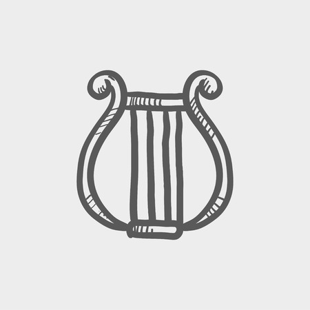 Lyre sketch icon for web and mobile. Hand drawn vector dark grey icon on light grey background. 向量圖像
