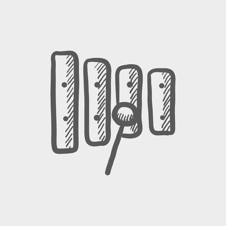 mallet: Xylophone with mallet sketch icon for web and mobile. Hand drawn vector dark grey icon on light grey background. Illustration