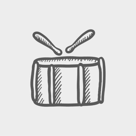 snare: Snare drum with stick sketch icon for web and mobile. Hand drawn vector dark grey icon on light grey background. Illustration