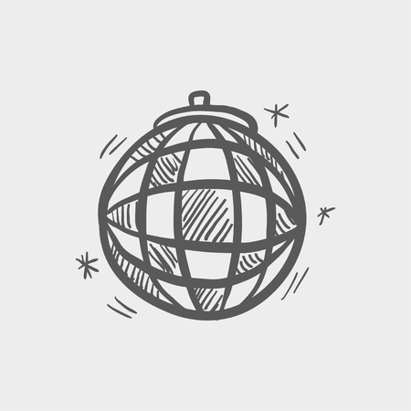 mirrorball: Disco ball sketch icon for web and mobile. Hand drawn vector dark grey icon on light grey background.