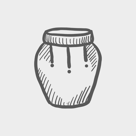 darbuka: Percussion instrument sketch icon for web and mobile. Hand drawn vector dark grey icon on light grey background.
