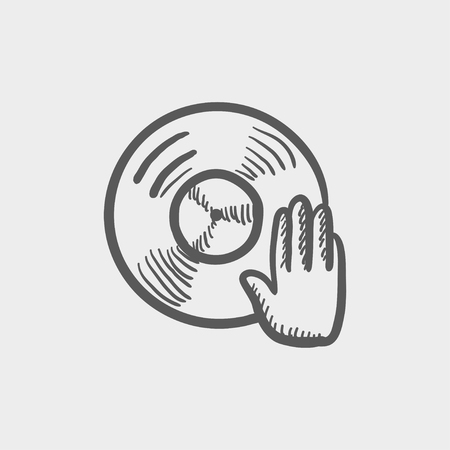disc jockey: Vinyl disc with hand disc jockey sketch icon for web and mobile. Hand drawn vector dark grey icon on light grey background.