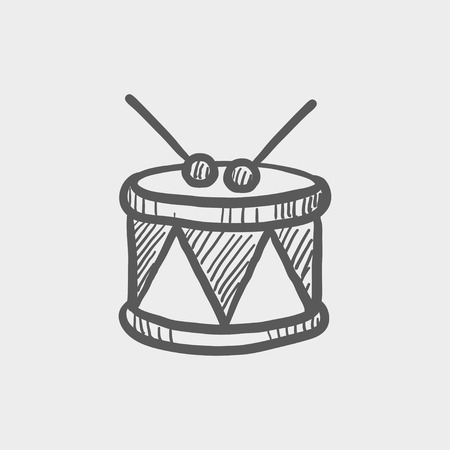 drumming: Drum with stick sketch icon for web and mobile. Hand drawn vector dark grey icon on light grey background.