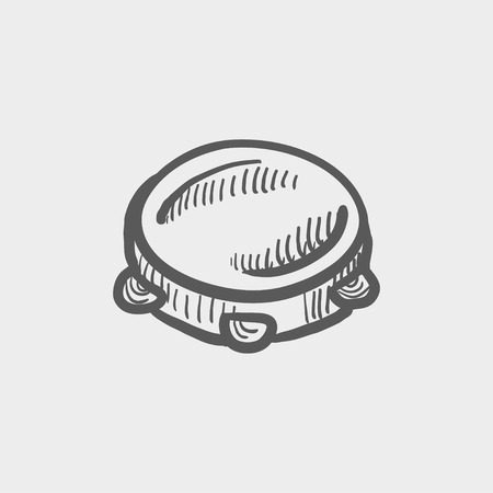 Tambourine sketch icon for web and mobile. Hand drawn vector dark grey icon on light grey background. Ilustrace