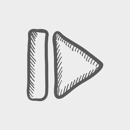 interface menu tool: Next button sketch icon for web and mobile. Hand drawn vector dark grey icon on light grey background. Illustration