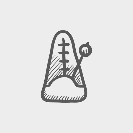 metronome: Metronome sketch icon for web and mobile. Hand drawn vector dark grey icon on light grey background.