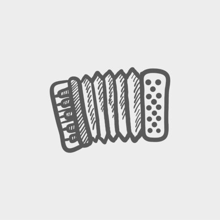 Organ sketch icon for web and mobile. Hand drawn vector dark grey icon on light grey background.