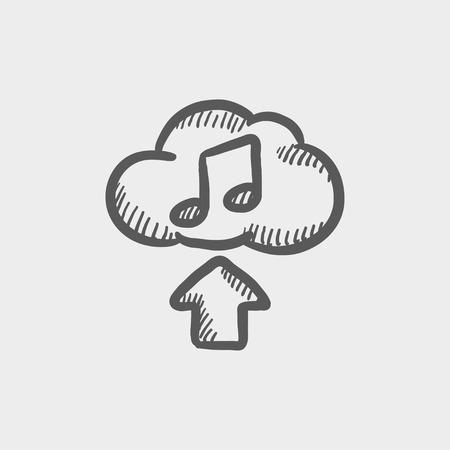 uploading: Musica Caricamento icona schizzo per web e mobile. Mano tratte vettore grigio scuro icona su sfondo grigio chiaro.