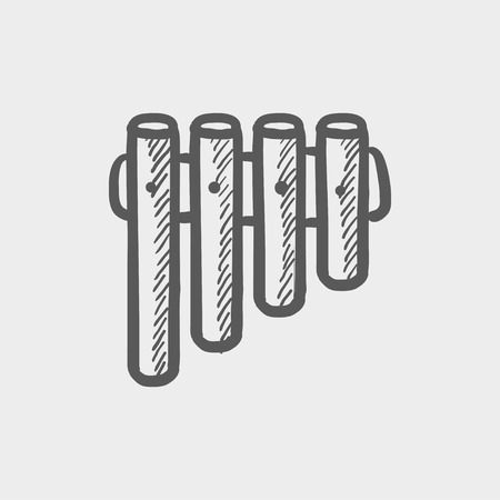 tubular: Vibraphone sketch icon for web and mobile. Hand drawn vector dark grey icon on light grey background.