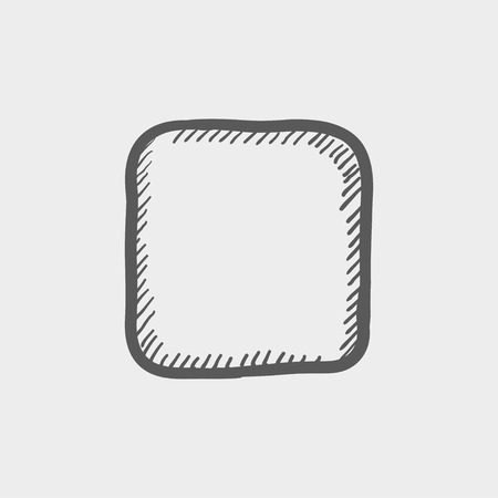 pause button: Stop button sketch icon for web and mobile. Hand drawn vector dark grey icon on light grey background.