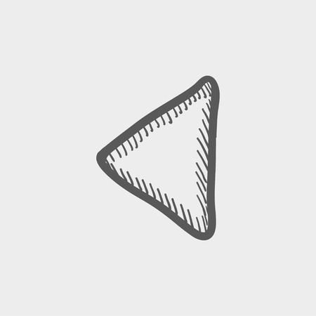 playback: Playback button sketch icon for web and mobile. Hand drawn vector dark grey icon on light grey background. Illustration