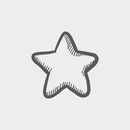 Star or best choice sketch icon for web and mobile. Hand drawn vector dark grey icon on light grey background.