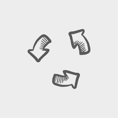 웹 및 모바일 용 재생 버튼을 스케치 아이콘입니다. 밝은 회색 배경에 손으로 그린 벡터 어두운 회색 아이콘.