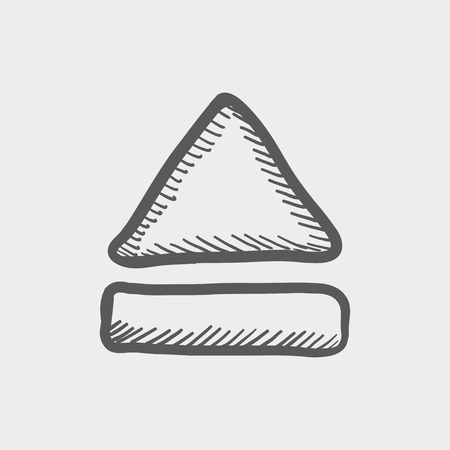 eject: Eject button sketch icon for web and mobile. Hand drawn vector dark grey icon on light grey background. Illustration