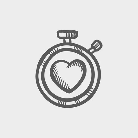 metrics: Heart time sketch icon for web and mobile. Hand drawn vector dark grey icon on light grey background. Illustration