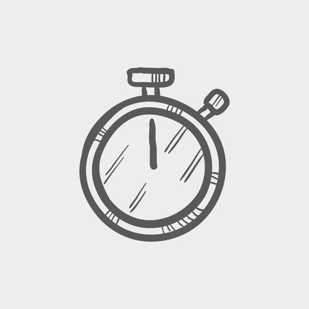 Stop watch sketch icon for web and mobile. Hand drawn vector dark grey icon on light grey background.