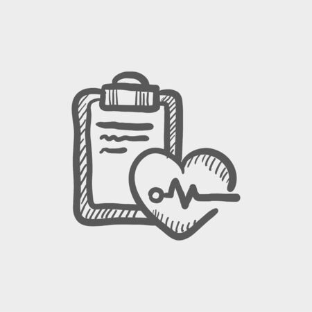 taking pulse: Heartbeat record sketch icon for web and mobile. Hand drawn vector dark grey icon on light grey background. Illustration