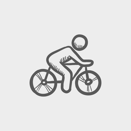 lenticular: Sports bike and rider sketch icon for web and mobile. Hand drawn vector dark grey icon on light grey background. Illustration