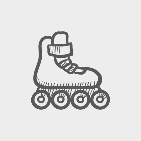 inline skate: Roller skate sketch icon for web and mobile. Hand drawn vector dark grey icon on light grey background.