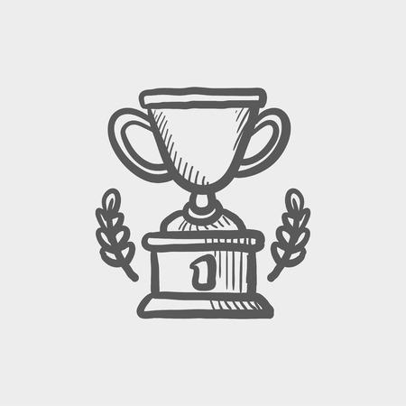 trofeo: Trofeo de primer icono boceto ganador del lugar para web y móvil. Mano vector dibujado icono gris oscuro sobre fondo gris claro.